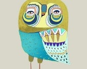 Owl Dude. Digital Illustration. print. Poster.