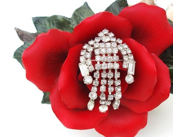 Vintage Dangle Clear Rhinestone Brooch Tiara Pin Statement Jewelry Bridal Brooch Horseshoe