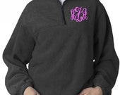 Personalized Adult Solid 1/4-Zip Pullover Sweatshirt Embroidered Monogram Included