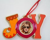 Hand Painted Rainbow Joy Ornament with photo slot