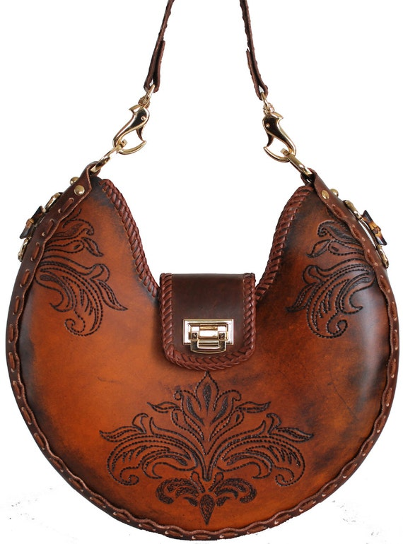 Tooled Leather Handbag - Alpine