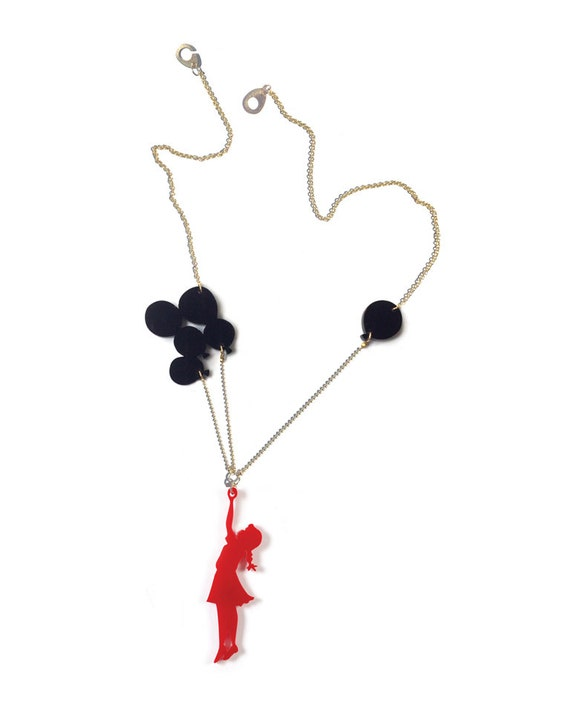 Red & black plexiglass (perspex) necklace, Girl with balloons, laser cut jewelry