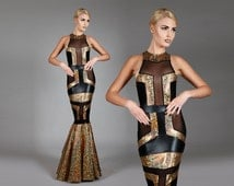 Art Deco Fishtail Gown, Unique Red Carpet Dress, Holographic Gold & Black Spandex, Sexy Hollywood Diva, Futuristic Stage Wear, by LENA QUIST