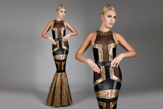 Fishtail Gown Geometric Dress Holographic Gold amp Black
