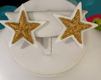 1980s White Lucite and Gold Star Earrings