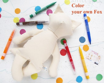 Color your own fox toy - Stuffed fox toy - Make your own plush fox - Kids art project- Birthday party art project - Ready to ship