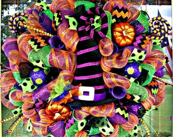 Whimsical Halloween  Witch Hat Wreath