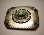 Antique German Jugendstil Arts Crafts Art Nouveau Sterling Silver Belt Buckle Blue Swiss Lapis Lazuli Cabochon Stone Deutsch Gürtelschnalle