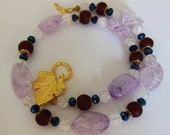 Lilac snow flake Quartz necklace 646