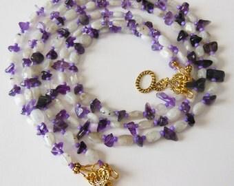 Lilac fantasy gemstone Necklace 620