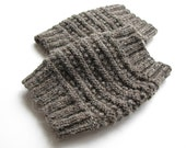 Hand Knit Dark Gray Boot Openwork Cuffs - Boot Toppers, Leg Warmers - Natural Organic Undyed Wool