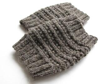 Hand Knit Dark Gray Boot Openwork Cuffs - Boot Toppers, Leg Warmers - Natural Organic Undyed Wool