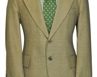40 Regular Checkered Houndstooth Brown Tan and Cream Wool Blazer