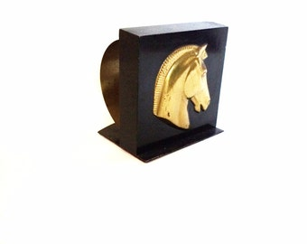 Vintage Black and Gold Scroll Horse Head Bookend