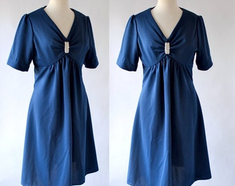 60s Dress / 60s Day Dress / 60s Polyester Dress / Mad Men Era Dress