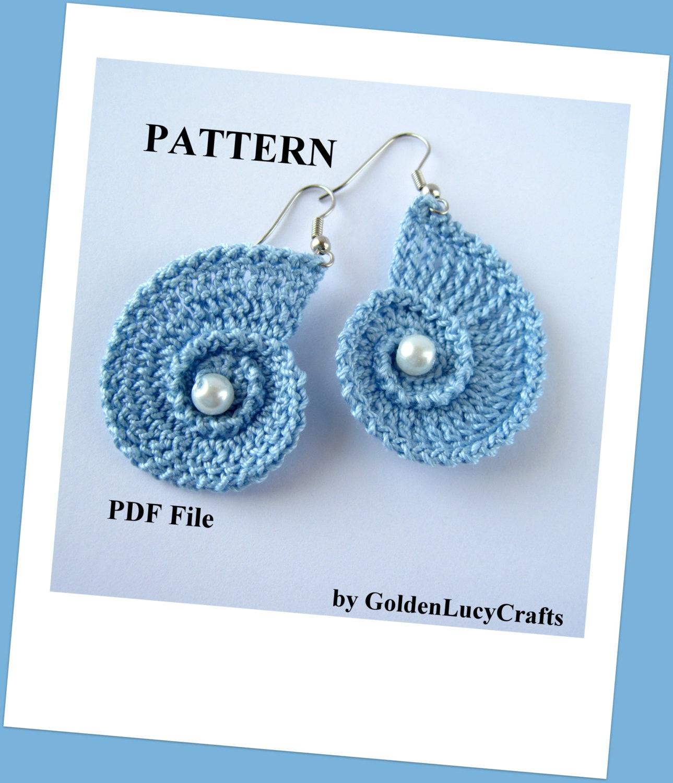 Crochet Hook Earrings: PATTERN Crochet Sea Shell Earrings Summer Beach Wedding