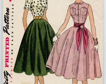 1950s Simplicity 4279 Misses Fitted Blouse Peter Pan Collar and Circle Skirt Vintage Sewing Pattern Bust 30 UNCUT