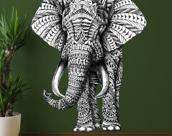 Elephant Wall Decal – Black and White Elephant Art by BioWorkZ
