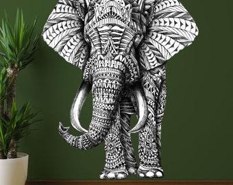 Ornate Elephant Wall Sticker Decal – Animal Art by BioWorkZ
