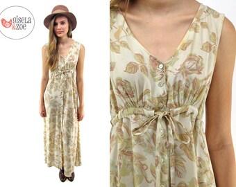 90s Floral Maxi Dress, Empire-Waist Dress, Oversized Slouch Dress, Boho Maxi Dress, Grunge Dress Δ size: sm / md