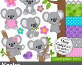 Koala clipart - Koala Bear Clip art and Digital paper set