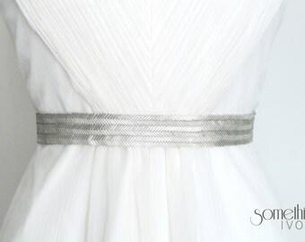MARIANNE SILVER - Beaded Silver Wedding Sash, Bridal Belt