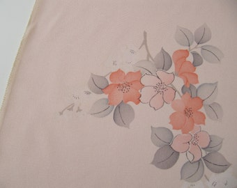 3 yds pink Japanese kimono silk, vintage pastel pink kimono fabric perfect for scarves, vintage Japanese haori silk fabric, 100 percent silk