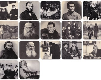 Leo Tolstoy. Set of 17 Vintage Photo Prints, Postcards - 1970. The Planet, Moscow