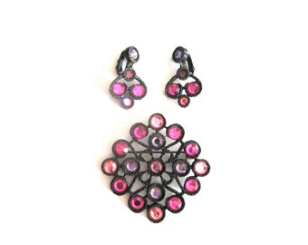 Pink Lavender Crystal Black Demi Parure Earrings and Brooch Set