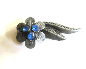 Blue Crystal Silver Fur Clip 1920s