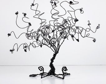 Wire Tree Business Card Holder Tree Sculpture in Black and Gray Fathers Day Gift Office Decor