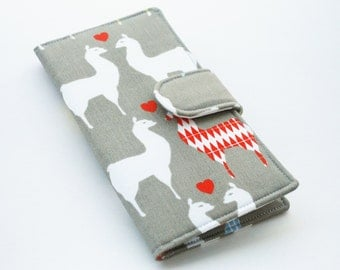 Womens Wallet, Organic Fabric Clutch, Vegan Wallet, Llama Love, Grey