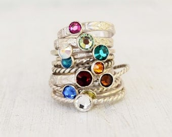 One Swarovski Crystal Stacking Ring - Sterling Silver Stack Ring - Mothers Day - Birthstone Ring - Boho Ring - Bohemian - Metalwork Jewelry