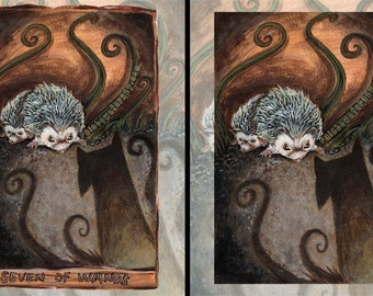 Cute Hedgehog Print, Animal Illustration, Seven of Wands Tarot Card, Badger Gift, Dark Shadow Art, Animism Tarot Deck