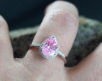 Pink Sapphire & Diamonds Halo Engagement Ring Pear drop Cut Goccia Grand 2.5ct 10x7mm Custom Siz White-Yellow-Rose Gold-10k-14k-18k-Platinum
