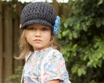 Crochet Newsboy Hat for Children, Brimmed Beanie Hat with 3 Flowers, Fall Fashion