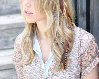 Feather Hair Clip: long thin feather hair extension clip, earthy color tones