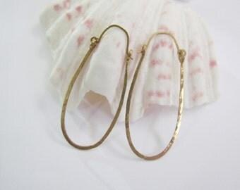 Hammered U Hoop Earrings. Bold Hinged Earrings. Brass Long Hoop Earrings in Gold-filled Ear Wires. Gypsy Boho Large Hoops. Israel Jewelry