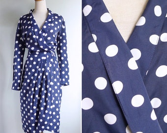 50% OFF - Vintage 80's Navy Blue & White Polka Dot Wrap Dress M L or Xl