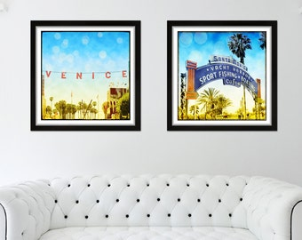 Venice Beach Sign, Santa Monica Photography Beach Decor Wall Art, Beach Photography Set, Retro Surfer Wall Art, California Art