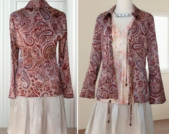 Mori girl style Blouse + top + skirt pure silk flounced gray skirt , satin peach and pink outfit woman knee length paisley fabric size M L