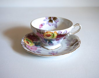 Vintage Hand Painted Tea Cup and Saucer - Norcrest Fine Bone China Cup and Saucer