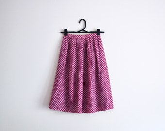 Pink Skirt - knee-length, midi, pleated, four leaf clover, floral, white, turquoise, xs - small, waist 24'