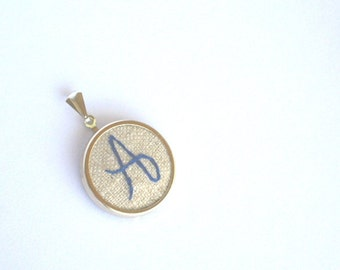 Hand embroidered initial necklace / Natural background with navy stitching / monogram pendant only / gifts for mom