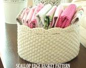 Crochet Basket Pattern - Round Scallop Edge Basket - PDF