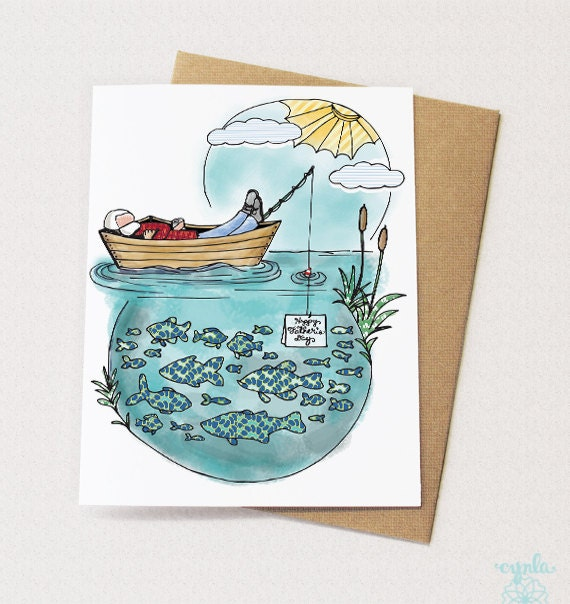 Father's Day Boat Card - Relaxing dad, Father's Day Card