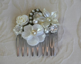 Bridal Haircomb Wedding Pearl Head Piece side headband Comb Vintage wedding hair comb Silver Hair Comb Bridal Accessories Romantic Jewelry