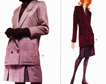 Vogue 2975 Double breasted coat jacket with pleated skirt Size 8-10-12 Hartnell London OOP Vogue Designer Original uncut