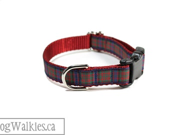 """MacDonald Tartan Dog Collar // 3/4"""" (19mm) wide // Side Release or Martingale Collar // Choice of style and size // Red Plaid Dog Collar"""