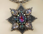 RESERVED Cheryl Huge Dragons Breath Watermelon Rhinestone Pendant Necklace